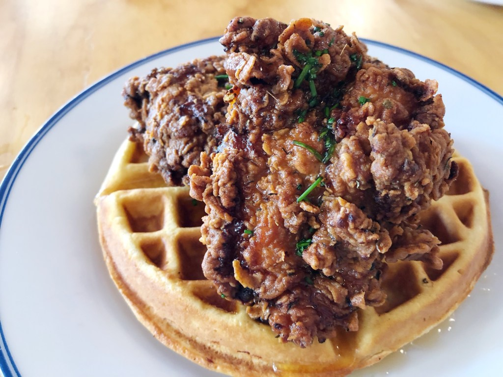 Fried Chicken and Waffles for brunch at Toast in Costa Mesa