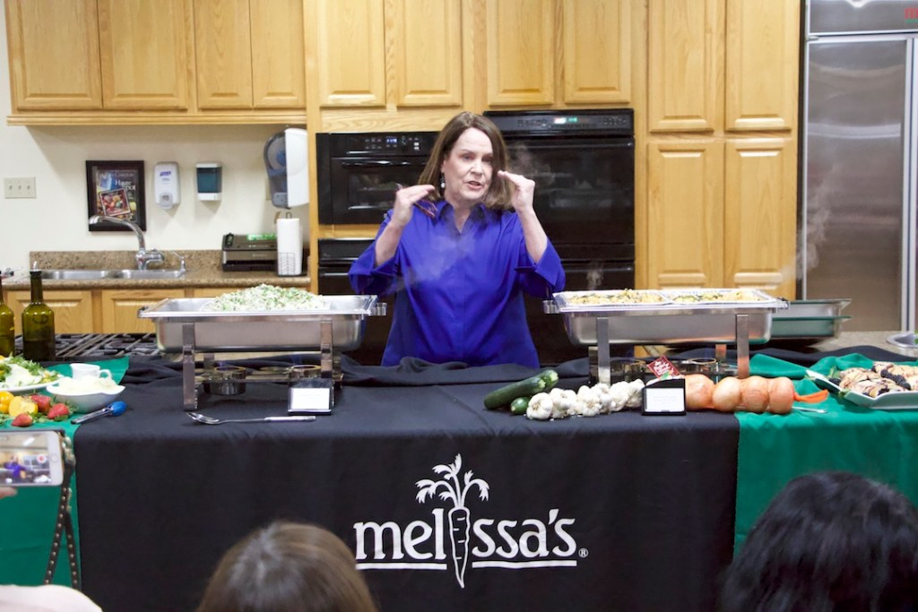 Nancy McDermott cooking demo at Melissa's Produce
