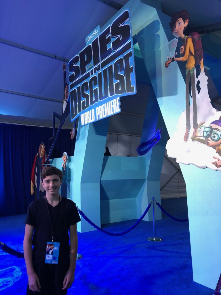 Tyler at the premiere of Spies in Disguise