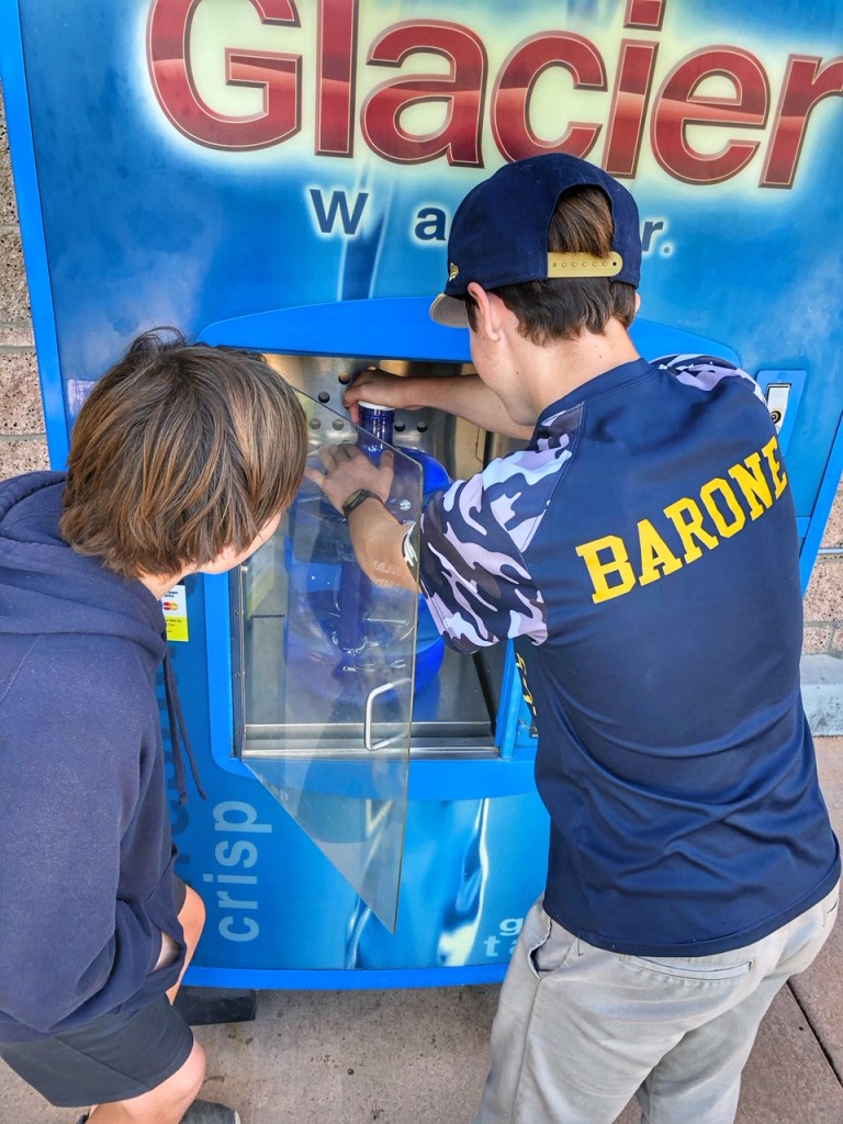 Kids at Primo Water Refill Station