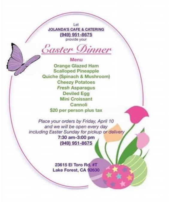 Easter Catering in Orange County