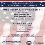 Help Support Our Veterans at OC Rescue Mission's 3rd Annual OC Veterans Day Dinner