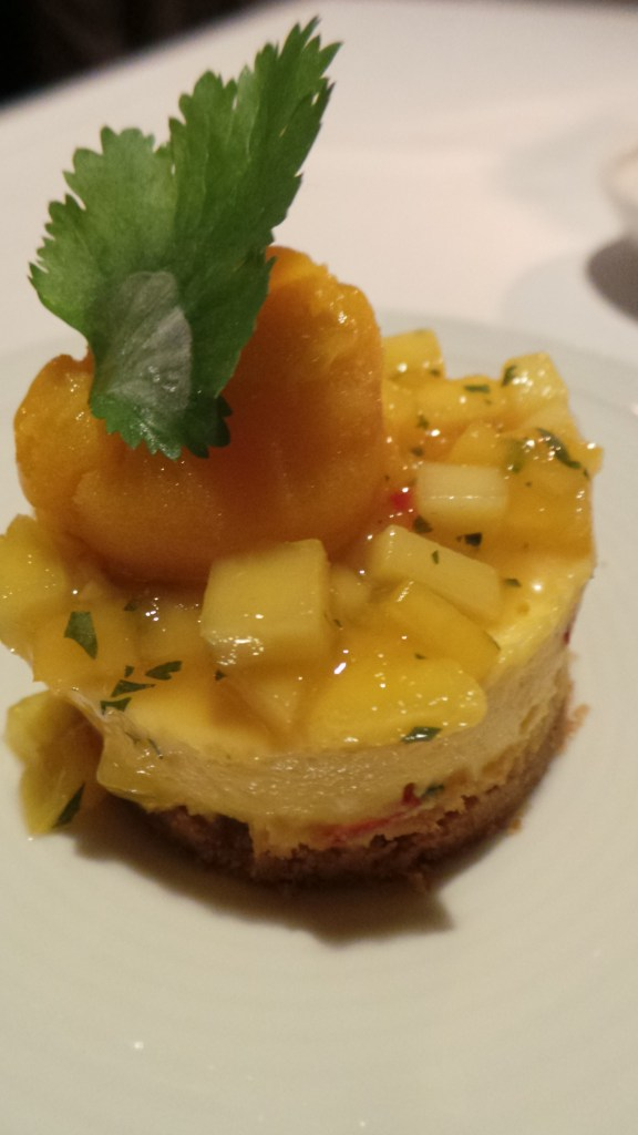 Cilantro-Chili-Mango-Cheesecake