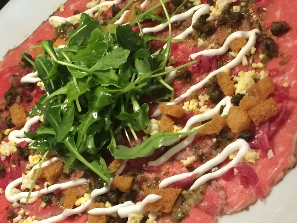 rib eye carpaccio at Taps Fish House