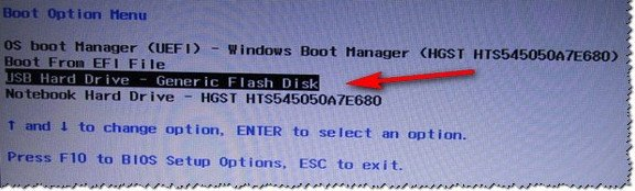 Contoh dari Boot Menu adalah laptop HP (Boot Option Menu).