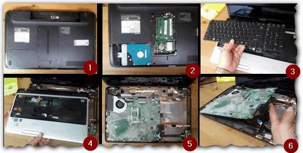 Radyatöre gitmeden önce klavyeyi çıkarmanız gereken bir dizüstü bilgisayarın sökülmesi
