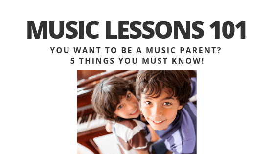 Happy kids taking piano lessons