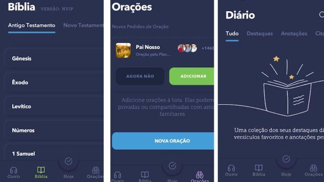 Áreas do app glorify