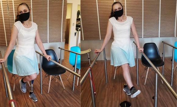 Jovem começa a dar os primeiros passos após quase três anos do acidente que a deixou paraplégica