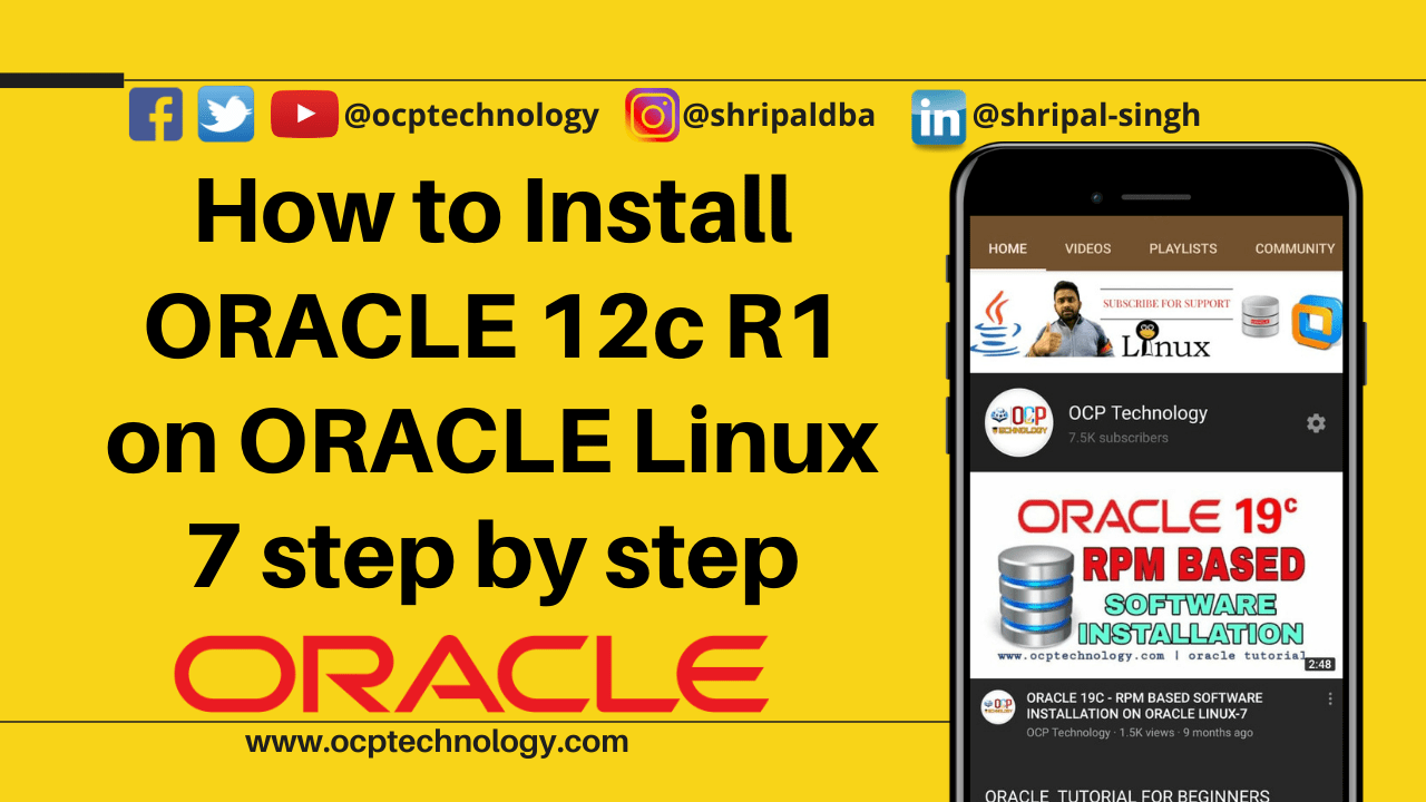 How to Install ORACLE 12c R1 on ORACLE Linux 7 step by step