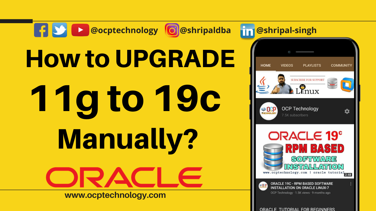 How to upgrade 11g to 19c manually