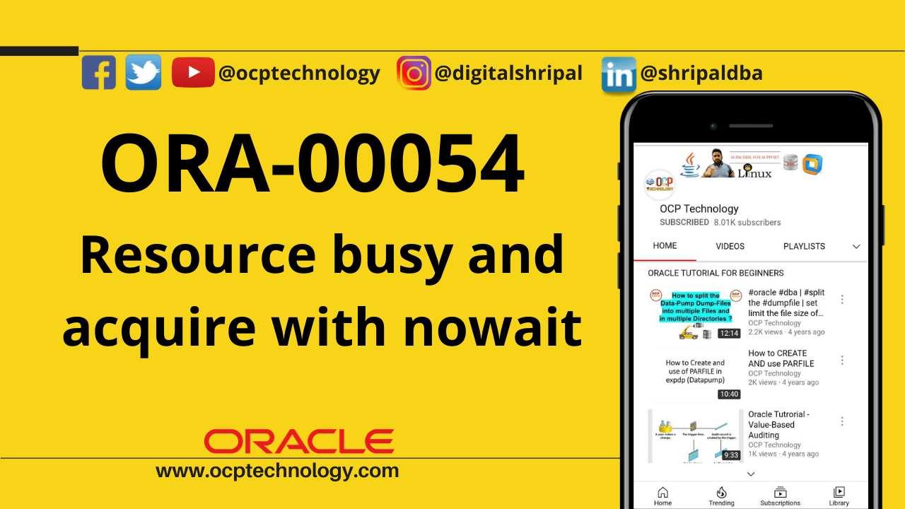 ORA-00054 resource busy and acquire with nowait