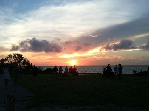 Most every evening, visitors and locals alike gather at the end of the NPS parking lot by the Sound to watch the sunset.