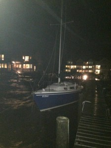 Loose boat the night of Nov. 1. Photo courtesy of Byron Miller.