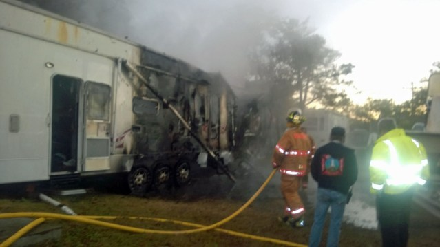A trailer along Bryant Lane is destroyed by fire early Saturday morning. Photo by P. Vankevich