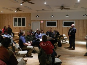 Bill Rich addresses islanders on tourism proposal. Photo by P. Vankevich