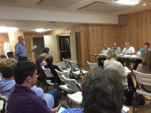 Philip Howard, President of the Ocracoke Preservation Society makes request for funding project to the Occupancy Tax Board Meeting. Photo by C. Leinbach