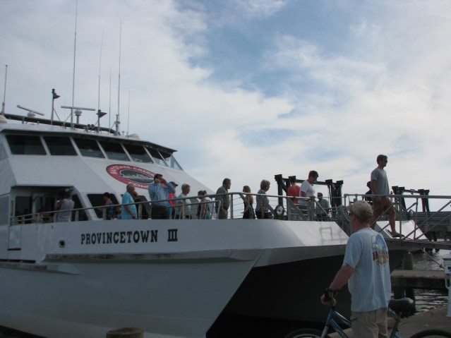 Folks tour the visiting passenger ferry on Ocracoke in May 2015. Photo by P. Vankevich
