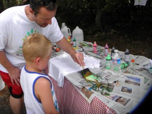 Making fish prints at Ocrafolk Festival