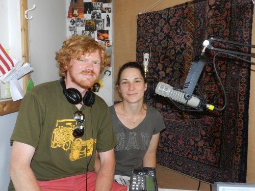 Ralph Weber and Claire Chrtien visiting Ocracoke's community radio station, WOVV. Photo by P.Vankevich