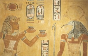 Pharaoh Rramses III and God thoth. Image courtesy of Wikimedia Commons