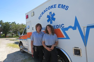 Hyde County emergency responders who helped Kay Slaughter are, from left, Dana Long, a paramedic, and Julia O'Neal, an intermediate emergency medical technician. Photo by C. Leinbach