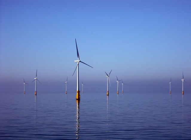 The Barrow Offshore Wind Farm is a 30 turbine 90MW capacity offshore wind farm in the East Irish Sea. Photo courtesy of Commons Wikimedia