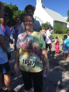 Islander Kati Wharton shows off her color-doused shirt.