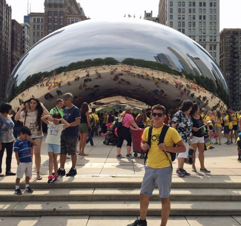 Matteus Gilbert in front of Anish Kapoor's 'Cloud Gate,' popularly referred to as 'The Bean,' at Chicago's Millennium Park. Photo courtesy of Matteus Gilbert.