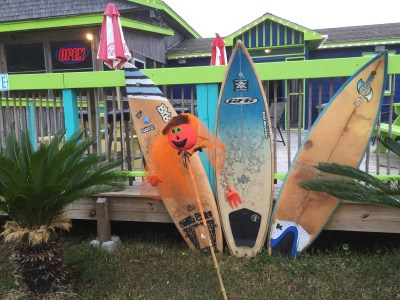 Halloween surfer theme at Ocracoke Oyster Company.