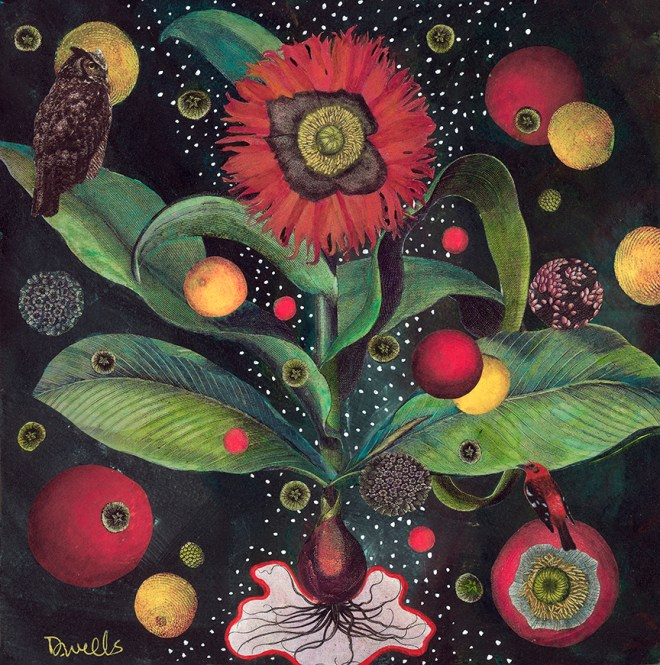 This collage, 'Red Flower with Owl,' by Debbie Wells, will be among the works for sale starting Oct. 21 in Down Creek Gallery.