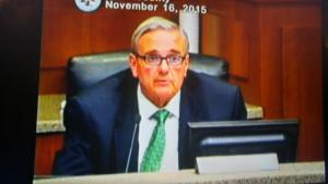Warren Judge, a Dare County Commissioner, speaks against tolling the Hatteras Ferry.