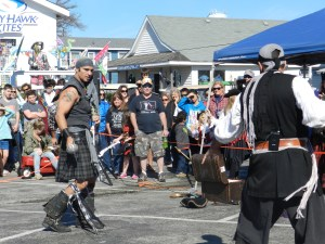 Swordfighting by the Shadow Players in Community Square