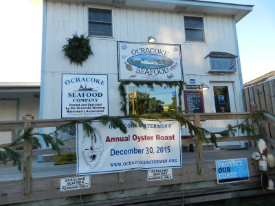 The Ocracoke Seafood Company is site of the oyster roast.