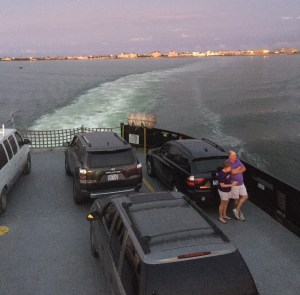 A ferry departs Hatteras at dusk. Photo by C. Leinbach
