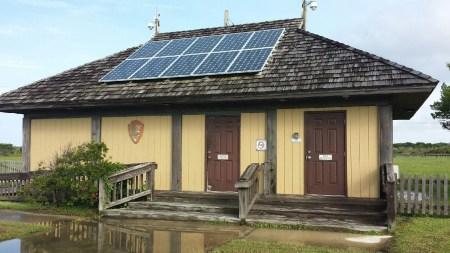 Solar panels energize the building at the Ocracoke airport. Photo by David Mickey