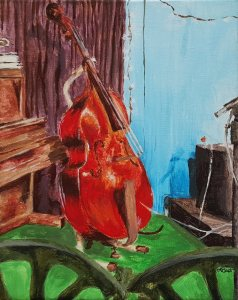 #57 Ocracoke Opry by Lindsay Bost, island visitor, swimmer, and artist, Molasses Creek's Kim France's bass, acrylic, 8 x 10