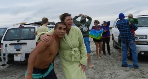 Junior Perez and Megan Aldridge await the plunge start.