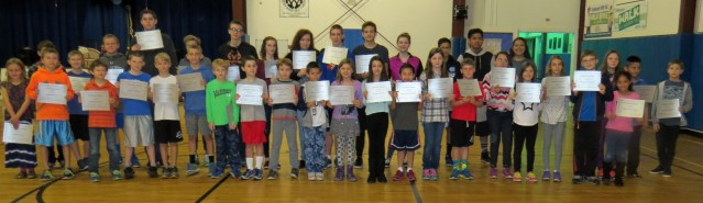 Ocracoke School students with all A's. Photo by P. Vankevich