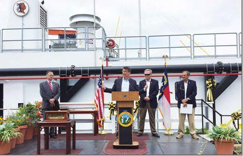 Gov. Pat McCrory christens state's new dredge.