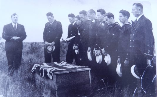 A photograph of the Buxton interment in May 1942 of Fourth Engineer Officer Michael Cairns of the Royal Merchant Navy.