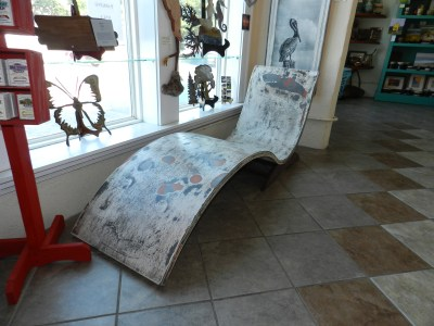 One of Tony Sylvester's concrete chaise lounge in Down Creek Gallery. It was recently sold and shipped to New Orleans