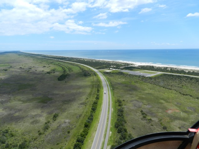 A bird's eye view from Larry Ihle's helicopter heading northeast from the village.