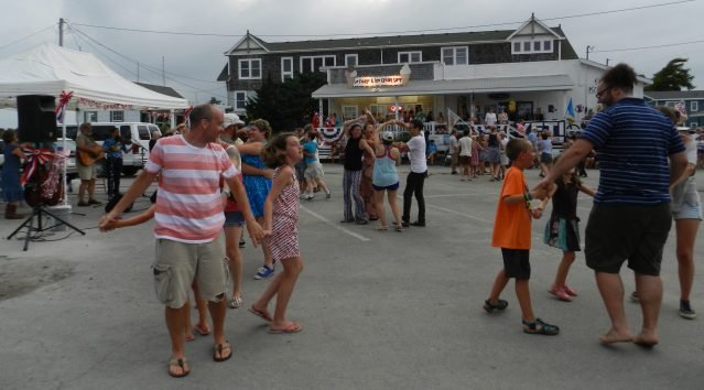 Square dancing in Community Square pn July 3 is part of the Independence Day holiday on Ocracoke.