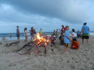 A community beach fire at the lifeguard beach capped the holiday weekend. Photo by C. Leinbach