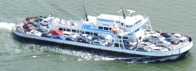 The Swan Quarter ferry, viewed from a helicopter, chugs to Ocracoke. Photo by C. Leinbach