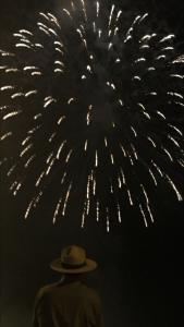 David Hallac, Cape Hatteras National Seashore superintendent, views the Ocracoke fireworks. Photo courtesy of NPS.