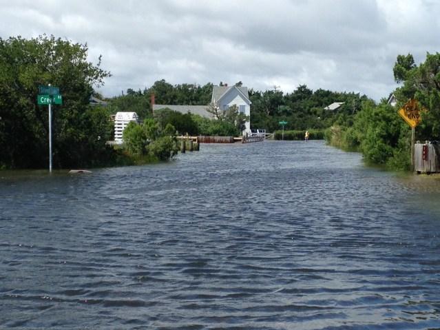 Storm surge on Creek Road. Photo: Ruth Fordon