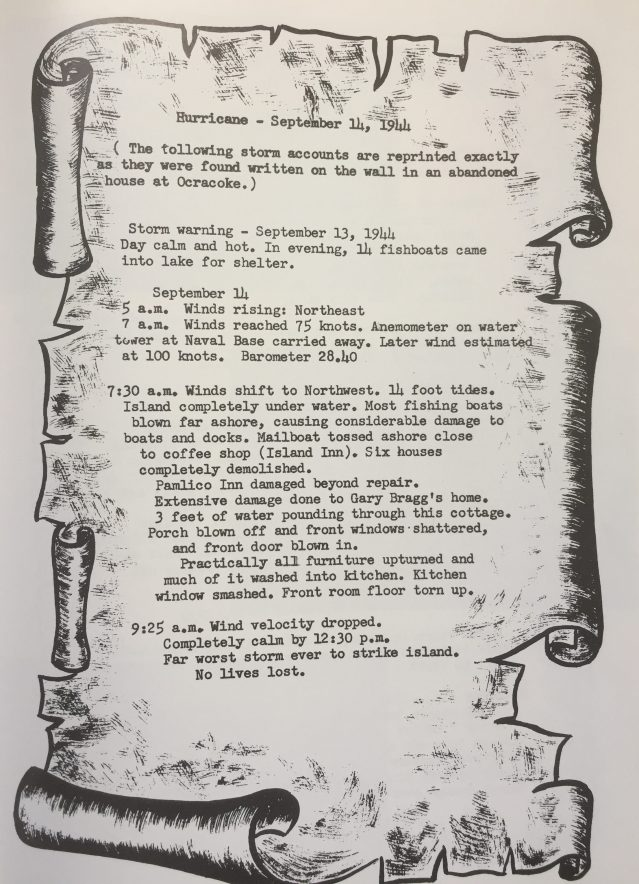 This account of the 1944 storm was published in the 1973 Ocracoke High School Yearbook.