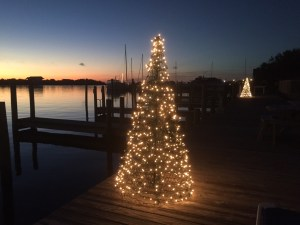 Holiday lights grace the Ocracoke harbor. Photo: C. Leinbach